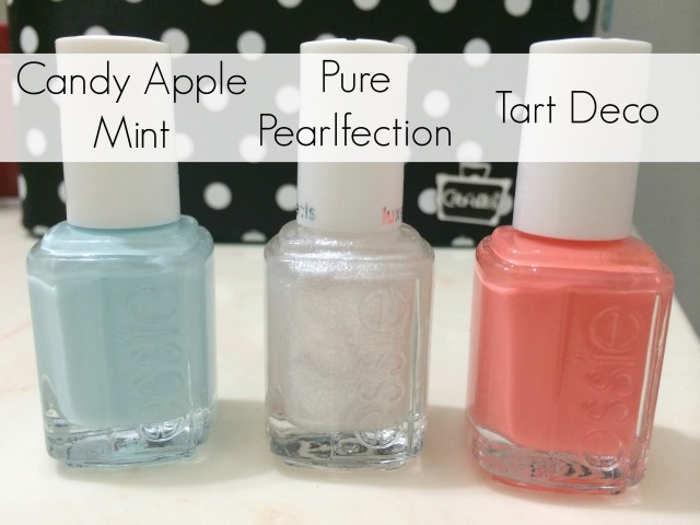 Essie Colors: Candy Apple Mint, Pure Pearlfection & Tart Deco